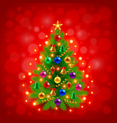 Green decorated Christmas tree on red background vector image vector image