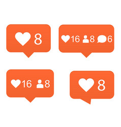 likes set of counter notification vector image vector image