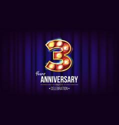 3 years anniversary banner three third vector image