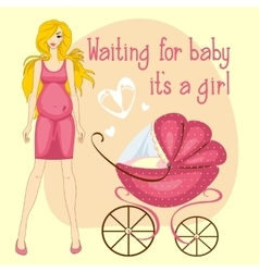 a pregnant woman waiting baby girl vector image