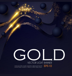 Abstract light waves background with gold glitter vector