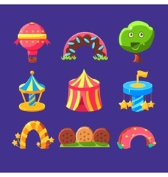 Amusement Park Elements Made Of Sweets vector