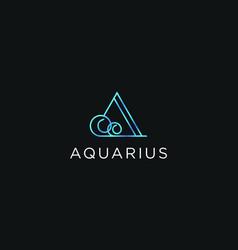 Aquarius abstract logo icon minimalist modern vector