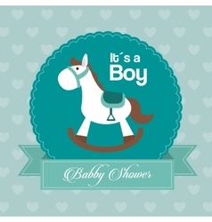 Baby Shower design horse icon Blue vector image