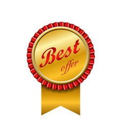 best offer award ribbon icon gold red sign vector image