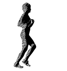 Black silhouettes runners sprint women on white vector