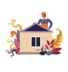 builder man finishing building process of vector image