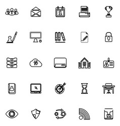 Business management line icons on white background vector