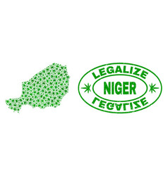 Cannabis leaves collage niger map with legalize vector