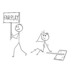 Cartoon of businessman walking with fair play vector