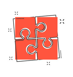 cartoon puzzle icon in comic style jigsaw sign vector image