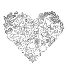 Christmas design in the shape of heart vector