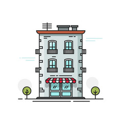 City building flat cartoon vector