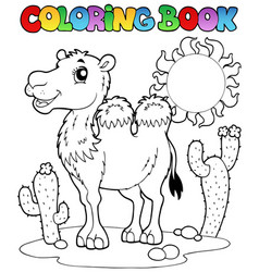 Coloring book desert with camel 2 vector