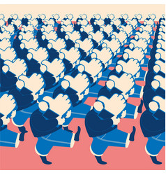 crowd of marching people with like sings vector image