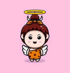Cute primitive cavegirl have wings icon vector