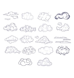 Different Style Hand Drawn Clouds Set vector image