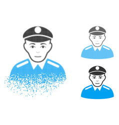dissolved dot halftone soldier icon with face vector image