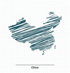 Doodle sketch of China map vector