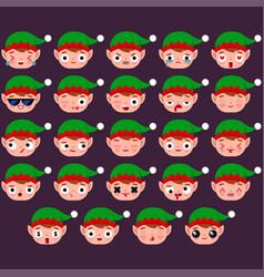 Elf emoji set vector