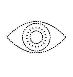eye icon in monochrome silhouette dotted vector image