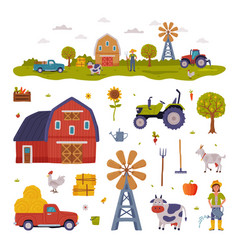 farm rural buildings and agricultural objects set vector image