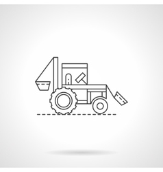 Farm tractor flat thin line icon vector image