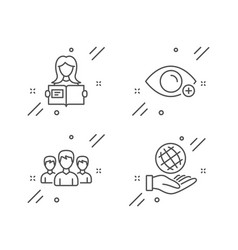 Farsightedness woman read and group icons set vector