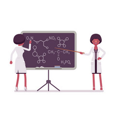 female black scientist at blackboard vector image