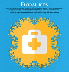 first aid kit Floral flat design on a blue vector image