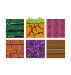 flat set of seamless textures and materials vector image