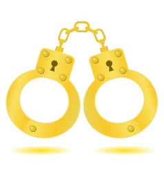 Gold handcuffs vector