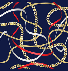 golden chains seamless pattern on blue background vector image
