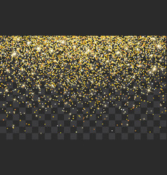 Golden glitter sparkle on a transparent vector