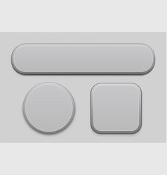 Gray matted plastic buttons 3d web icons vector