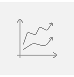 Growth graph line icon vector