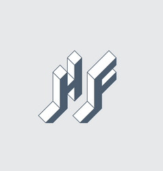 h and f - monogram or logotype hf - 2-letter code vector image