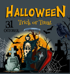 Halloween death party trick or treat poster vector