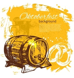 Hand drawn Oktoberfest vintage background vector image