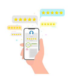 hand holding phone and stars rating feedback vector image