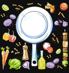 healthy and fresh fruit and vegetable with kitchen vector image
