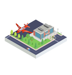 Isometric airport modern and aircraft vector