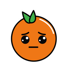 Kawaii cute sad orange fruit vector
