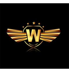 Letter W winged crests logo Alphabet logotype vector image