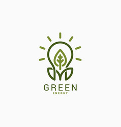 light bulb with green leaf green energy logo vector image