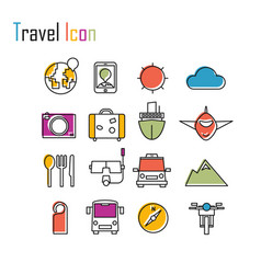 Line icons tour planning recreational rest vector