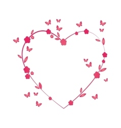 Love heart floral butterfly flower pink vector