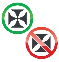 Maltese cross permission signs set vector