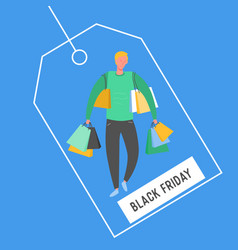 man with shopping bags and presents people vector image