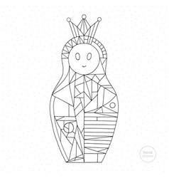 Matryoshka coloring page nesting doll hand drawn vector
